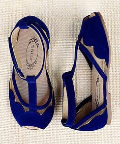 Ultramarine Blue Stella T-Strap Sandal - Girls
