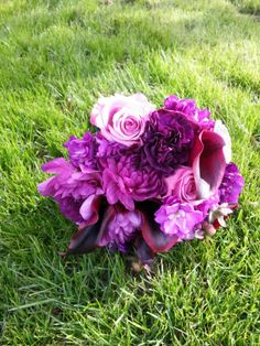 Bridesmaid bouquet in shades of purple by @bellefleure #flowers