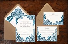 Floral Block Printed Wedding Invitations by Katharine Watson via Oh So Beautiful Paper (4)