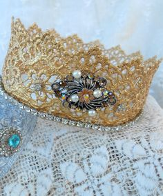 Lace ...crown -- or headband - whichever would stay on better ;)