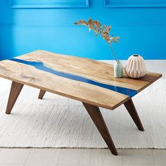 Frances Bradley River Resin Elm Coffee Table On Walnut Base with a hint of blue #ad