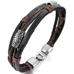 Men,Women's Alloy Genuine Leather Bracelet Bangle Rope Black Silver Brown Braided Tribal ** For more information, visit http://www.amazon.com/gp/product/B00UX68RJW/?tag=splendidjewelry07-20&pjk=140716005955