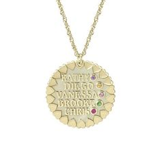 Loving Family Personalized Necklace features up to 5 kids names and birthstones.  Love the little hearts on the outside of the charm!  In silver or gold