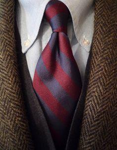 heavytweedjacket: Sunday afternoon. J. Press Harris Tweed J. Press/Atkinsons regimental tie Brooks Brothers oxford and merino vest. Out and about under blue skies.