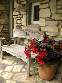 beautiful bench and begonias