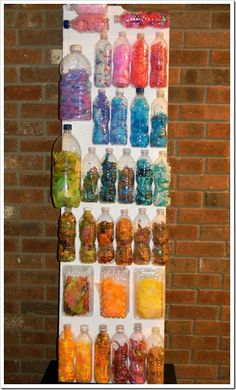 Stunning recycled reused colorful textured art display by toddlers to preschoolers via calamari a a must follow kids art blog