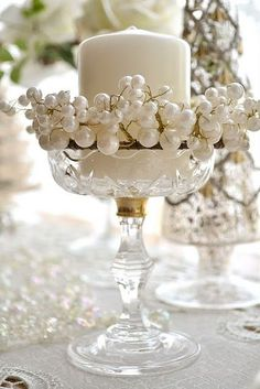 CANDLES WITH FAUX PEARL RING
