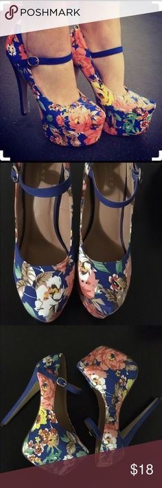 Listing✨ Beautiful Floral Print Heels All the drama you need, the bold and theatrical height of this Mary Jane pump is deliciously dangerous! It features an adjustable strap, floral print, gold hardware, a hidden platform, cushioned insole and an almond toe cut. In good condition. Worn a few times only sin of wear is bottom heel and strap as shown in pic 4. No Trades/Holds ✅ Reasonable Offers through Offer Button  -True to size -heel approx. 6 1/2 inches -platform approx. 2 1/2 inches Glaze…