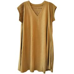 Alexander Yamaguchi V-Neck Dress in Mustard (73 CAD) ❤ liked on Polyvore featuring dresses, tops, shirts, loose fit dress, loose dresses, v neck dress, mesh v neck dress and mustard yellow dresses