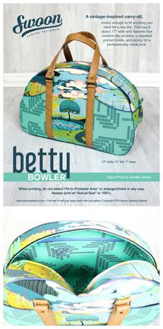 Here's Swoons Betty Bowler vintage-inspired carry-all bag sewing pattern.