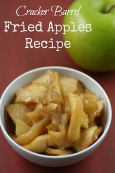 Fried apples recipe - copycat recipe Try this copycat Cracker Barrel Fried Apples Recipe! Eat it alone, pair it with pork, top it with vanilla ice cream - it is just delicious! Crockpot Dessert Recipes, Fruit Recipes, Apple Recipes, New Recipes, Delicious Desserts, Cooking Recipes, Yummy Food, Favorite Recipes, Yummy Recipes