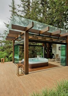 Beautiful wooden pergola modern twist - If you are looking for a more contempora. Beautiful wooden pergola modern twist - If you are looking for a more contemporary outdoor patio cover visit our website at raseoutdoorliving. Hot Tub Pergola, Jacuzzi Outdoor, Wooden Pergola, Backyard Pergola, Backyard Landscaping, Landscaping Ideas, Timber Pergola, Big Backyard, Backyard Pools