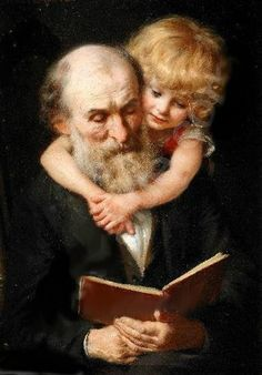 """Story Time"" (portrait of the artist's father and daughter) ~ by Knut Ekwall (1843 – 1912, Swedish)"