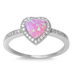- .925 Sterling Silver - Width: 13mm - Pink Lab Opal & Cz Stones - Heart - Comes In a Gift Box