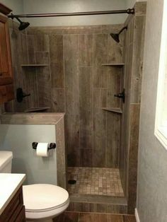 Ceramic tile that looks like barnwood....love!!!                                                                                                                                                                                 More