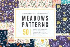Meadow - 50 vector seamless patterns by DariSmartArt on @creativemarket
