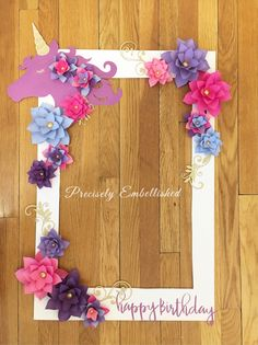 "*** Unicorn Selfie Frame - Limited Edition*** This beautiful customized selfie frame is a great addition for your next special event! Perfect for any special occasion including weddings, baby showers and birthdays! This is the LARGE frame measures 30"" x 20"" and is made out of"