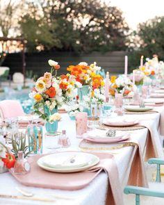 Spring wedding color scheme: pastel pinks and baby blues set the tone for this fun wedding in Palm Springs. Martha Stewart Weddings, Summer Wedding, Wedding Day, Gown Wedding, Lace Wedding, Wedding Cakes, Wedding Rings, Wedding Dresses, Wedding Dinner