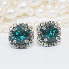 Teal Stud Earrings Crystal Peacock Green Teal Blue by TIMATIBO