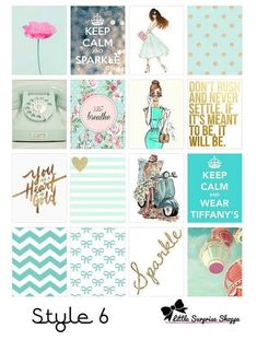 Free Printables 6 Planner stickers - girl, fashion, chic with glitter and gold sparkle