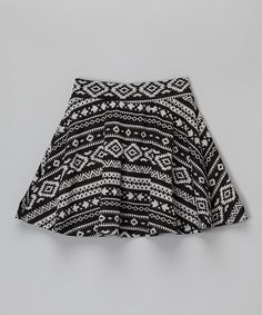 Look at this Black & White Geometric Circle Skirt on #zulily today!
