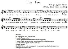 """Tue Tue, an african song to use in a """"Music Around the World"""" theme."""