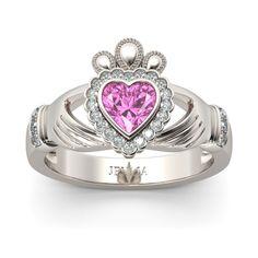 Crown Shape Heart Cut Created Pink Sapphire Rhodium Plated Claddagh Ring #jeulia #engagementrings #fashionjewelry #bridalset #fashion #beauty