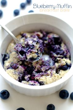 "Blueberry muffin breakfast bake recipe at running with spoons ! YUM!!! Sounds so delicious and so easy to make- just 5 minutes prep! Would want this for dessert too!!! ""Subtly sweet and loaded with blueberry flavour, this blueberry muffin breakfast bake tastes just like a blueberry muffin, but without any added refined sugars or oils."" !!! #vegan !"