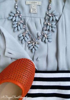 A Bigger Closet JCrew Style Blog - Outfits and Reviews: Easy Outfit Inspiration - J.Crew Factory Crystal Leaf Necklace and Nautical Stripe P...