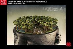 """JWT Publicidade Ltda - Forêt tropicale - 2012 Le slogan en français: """"Nous n'utilisons que 10% de notre capacité cérébrale. Dieu merci."""" Cette affiche montre que les humains utilisent 10% de leur capacités cérébrales (la partie polluée), les capacités potentielles du cerveau humain à trouver des solutions pour assurer le développement durable de notre planète."""