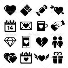 Valentine Day Love Icons Set (Web)