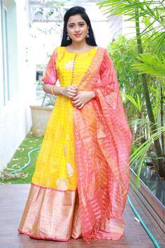 in Vasthra Creations. Half Saree Designs, Silk Saree Blouse Designs, Fancy Blouse Designs, Dress Neck Designs, Bridal Blouse Designs, Long Gown Dress, Sari Dress, Anarkali Dress, Long Frock