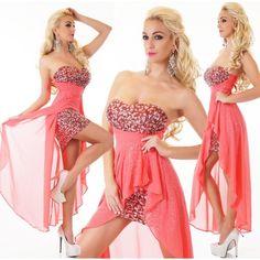 22402S Στράπλες Φόρεμα ασύμμετρο Κοραλί 65,00€ #Φορέματα #ModaMarconi