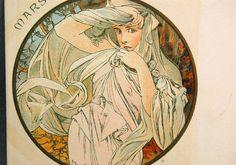 Art Nouveau Alphonse Mucha Lithograph Postcard The Months C 1899 March Mars CARD #ArtNouveau #AlphonseMucha