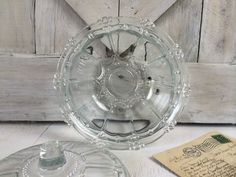 Vintage Glass Covered BowlFrench Country by seedlingplantation, $16.00