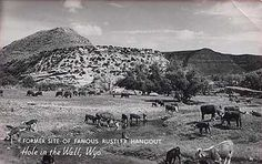 """Butch Cassidy & Sundance Kid--Wyoming Tales and Trails In this area in the 1880's and the 1890's, rustlers would graze stolen cattle and would provide refuge to outlaws. Thus, inhabitants of the six cabins that stood in the valley were known as the """"Hole in the Wall Gang."""""""
