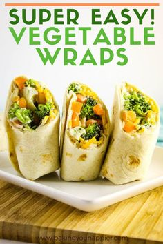 Easy Vegetable Pizza Wrap, a quick and easy vegetable wrap coated with a delicious creamy Ranch filling and layered with shredded cheese & fresh vegetables! Easy Packed Lunch, Healthy Packed Lunches, Prepped Lunches, Healthy Meals For Kids, Easy Healthy Recipes, Delicious Recipes, Wrap Recipes, Lunch Recipes, Appetizer Recipes