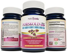 nutribody Pure Forskolin Coleus Forskohlii Root Extract - 120 Day Supply, 120 Count 250 mg PER Capsule, with Standardized 20% Active Forskolin, Maximum Strength Natural Weight Loss Supplement, Belly Fat Burner. 100% Money Back Guarantee! No Risk - Lose Weight or Your Money Back! NUTRIBODY