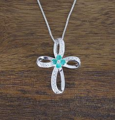 This is a pretty lightweight Emerald, Cubic Zirconia and Sterling Silver 'Cross' Necklace. Bride And Groom Gifts, Sterling Silver Cross, Emerald, Jewelry, Jewlery, Jewerly, Bride And Groom Presents, Schmuck, Jewels