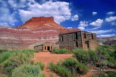 Old Paria ghost town movie set sits abandoned in the desert near Kanab, Utah in the Grand Staircase Escalante National Monument. USA