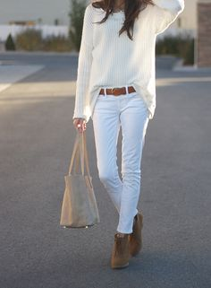 White jeans and white sweater with brown booties and brown belt... love! White on white is supposed to be popular this spring...can I do it?