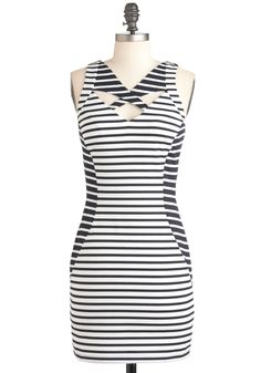 Op Art Gallery Dress - Black, White, Stripes, Backless, Cutout, Party, Mini, Sleeveless, Summer, Girls Night Out, Short, Exposed zipper