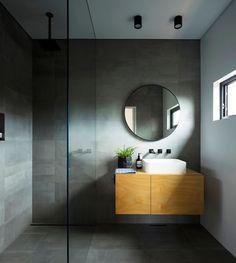 Binary House - Modern - Bathroom - Sydney - by Christopher Polly Architect Wood Floor Bathroom, Grey Bathroom Tiles, Bathroom Flooring, Modern Bathroom, Bathroom Ideas, Mirror Bathroom, Dark Grey Bathrooms, Remodled Bathrooms, French Bathroom