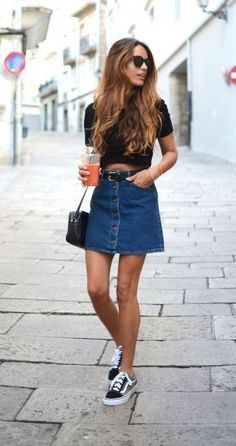 Black cropped top, denim skirt & Vans | @styleminimalism