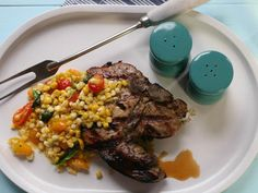 Grilled Pork Chops with Corn, Tomatoes and Basil #recipe