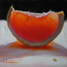"""Red Grapefruit Slice"" - Original Fine Art for Sale - © Elena Katsyura"
