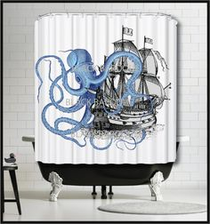 Blue Octopus Ship Shower Curtain Tall Ship by TheBlackDuckie
