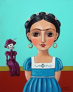 """Mexican Folk Art by Claudia Garcia """"FRIDA KAHLO WITH DAY OF THE DEAD DOLL"""". Canvas 11"""" x 14"""""""