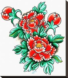 Red Peouy by Clark North Asian Tattoo Artwork Peony Flower Art Print – moodswingsonthenet Neo Traditional Roses, Traditional Tattoos, Water Lily Tattoos, Flower Tattoos, Rolled Paper Art, Asian Tattoos, Female Tattoos, Hawaiian Tattoo, Hawaiian Tribal