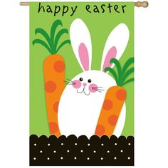 Easter Bunny Rabbit Carrot Flag Garden Yard Entry Door Hanging Wall Art Decor   #Unbranded